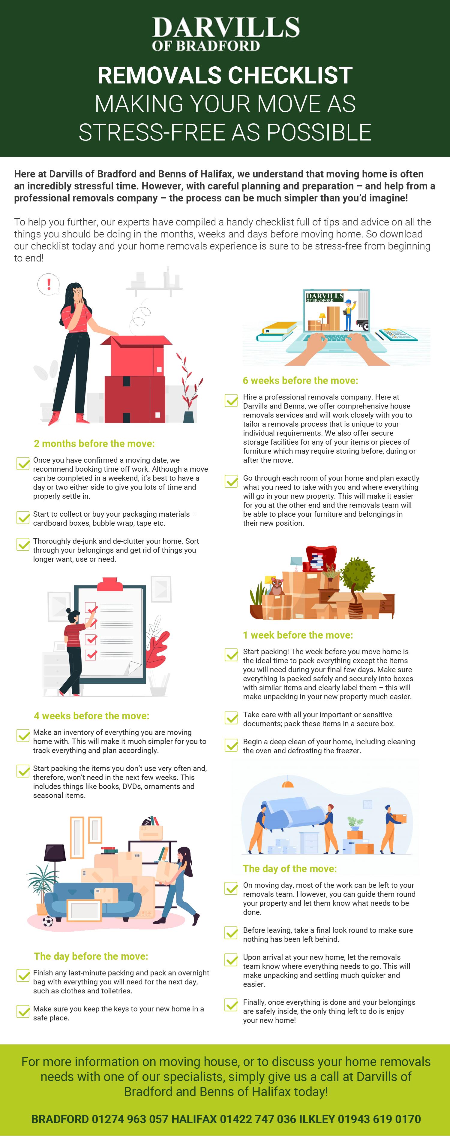 Removals Checklist Bradford & Halifax Infographic